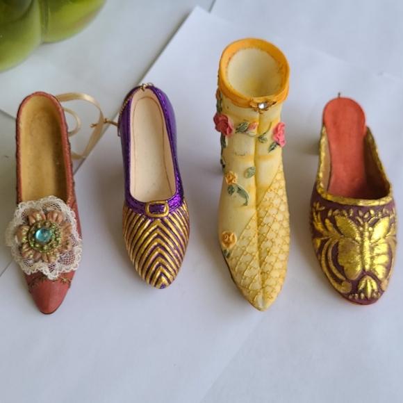 Vintage porcelain painted shoe ornaments